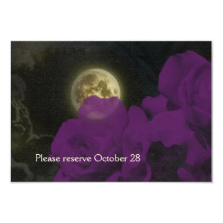Full Moon Deep Purple Ghost Roses Save the Date 3.5x5 Paper Invitation Card