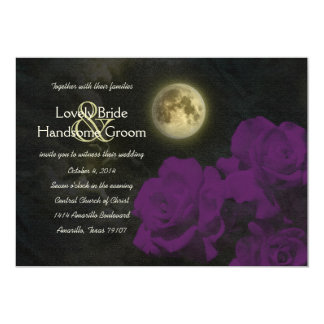 Full Moon Deep Purple Ghost Roses Wedding 5x7 Paper Invitation Card