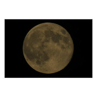 Full Moon Elipse, Cloudy Poster