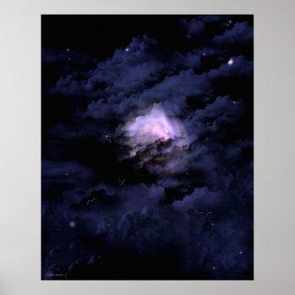 Full Moon Flight Fantasy Goth Landscape Art Poster