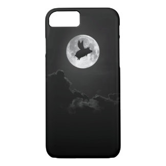 full moon flying pig iphone case