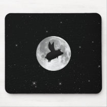 full moon flying pig mouse pad