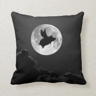 full moon flying pig pillow