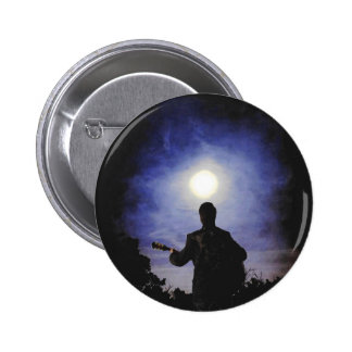Full Moon & Guitar Silhouette 2 Inch Round Button