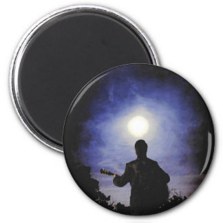 Full Moon & Guitar Silhouette 2 Inch Round Magnet