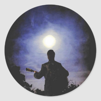 Full Moon & Guitar Silhouette Classic Round Sticker