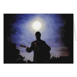 Full Moon & Guitar Silhouette Greeting Card