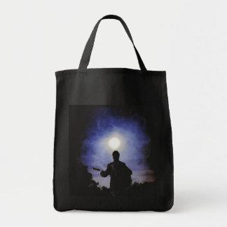Full Moon & Guitar Silhouette Grocery Tote Bag
