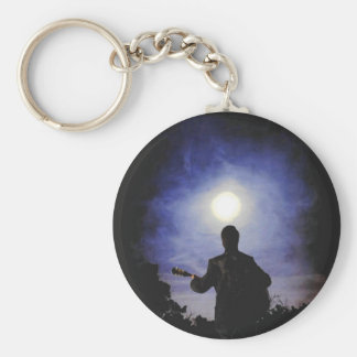 Full Moon & Guitar Silhouette Keychain