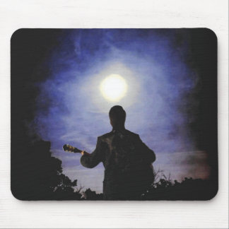 Full Moon & Guitar Silhouette Mouse Pad