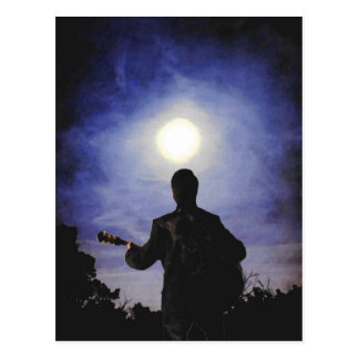 Full Moon & Guitar Silhouette Postcard