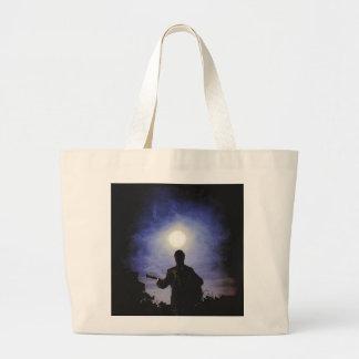 Full Moon & Guitar Silhouette Tote Bags