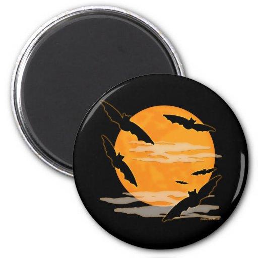 Full Moon Halloween Bats 2 Inch Round Magnet