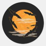 Full Moon Halloween Bats Classic Round Sticker