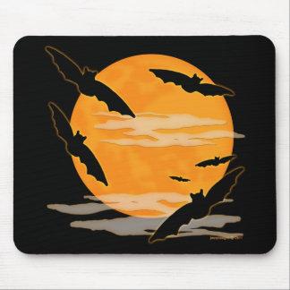 Full Moon Halloween Bats Mouse Pad