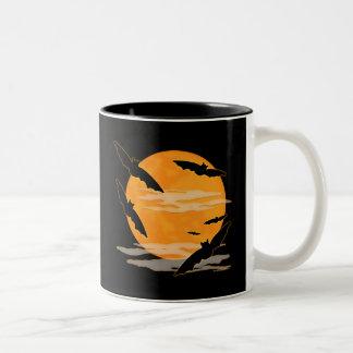 Full Moon Halloween Bats Two-Tone Coffee Mug