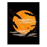 Full Moon Halloween Bats Post Cards