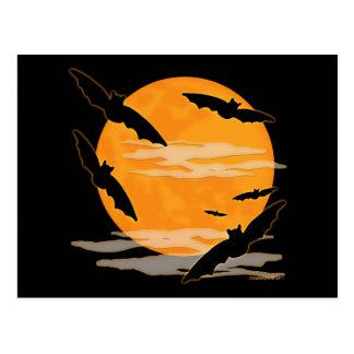 Full Moon Halloween Bats Postcard
