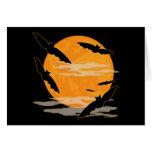 Full Moon Halloween Bats Stationery Note Card