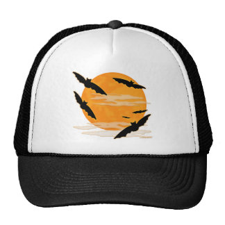 Full Moon Halloween Bats Trucker Hats