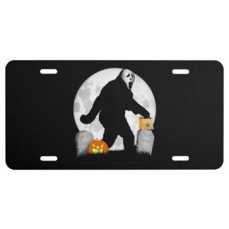Full Moon Halloween Squatchin' License Plate