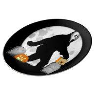 Full Moon Halloween Squatchin' Porcelain Plates