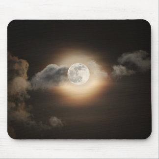 Full Moon in Cloudy Night Mouse Pads