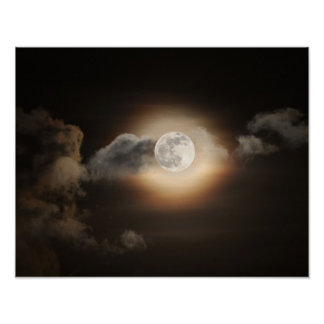 Full Moon in Cloudy Night Poster