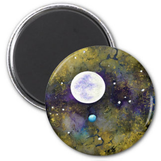 full moon in outer space 2 inch round magnet