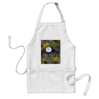 full moon in outer space adult apron