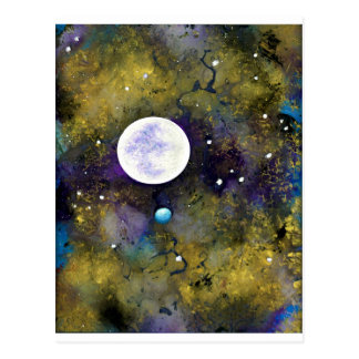 full moon in outer space postcard