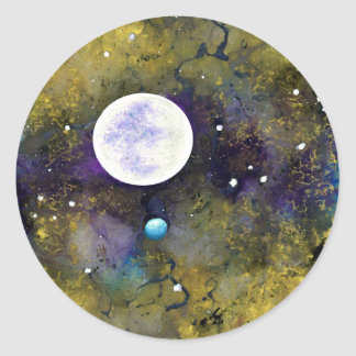 full moon in outer space sticker