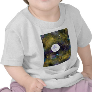 full moon in outer space t-shirts