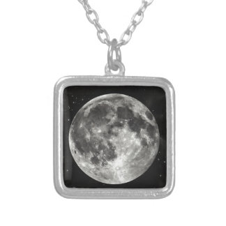 Full Moon in the Sky Square Pendant Necklace