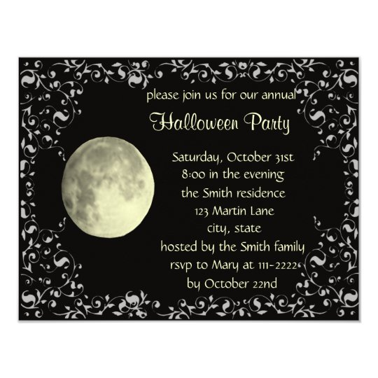 full moon invitation card template