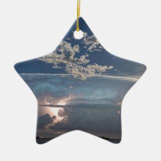 Full Moon Lake Storm.jpg Double-Sided Star Ceramic Christmas Ornament