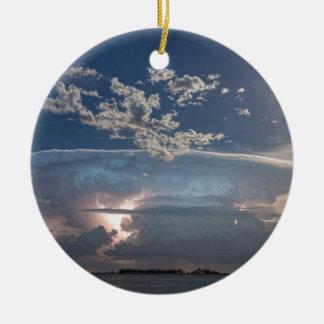 Full Moon Lake Storm.jpg Double-Sided Ceramic Round Christmas Ornament