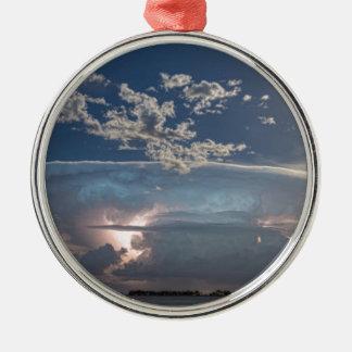 Full Moon Lake Storm.jpg Round Metal Christmas Ornament