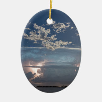 Full Moon Lake Storm.jpg Double-Sided Oval Ceramic Christmas Ornament