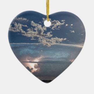 Full Moon Lake Storm.jpg Double-Sided Heart Ceramic Christmas Ornament