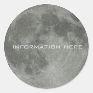 Full Moon Lunar Space Night Sky Orbit Classic Round Sticker