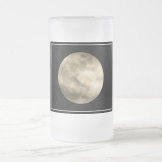 Full Moon 16 Oz Frosted Glass Beer Mug