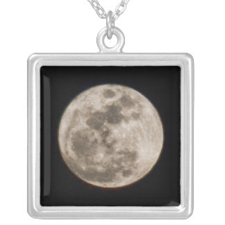 Full Moon Square Pendant Necklace