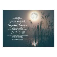 Full moon night dragonfly & water grass wedding invitation