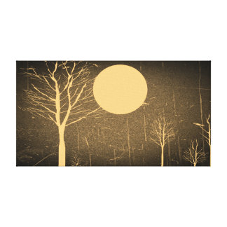 Full Moon Night Vintage Wrapped Canvas