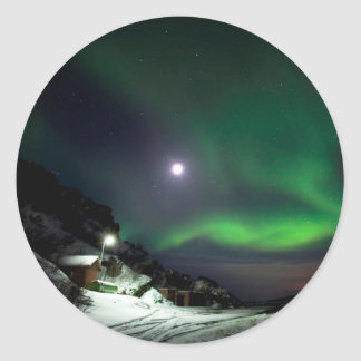Full Moon & Northern Lights, Classic Round Sticker