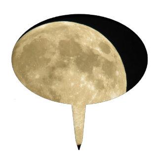 Full moon on black background cake topper