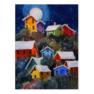 Full Moon on Hillside Houses Pittsburgh PA Post Cards