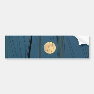 Full Moon Over A Marina Bumper Sticker