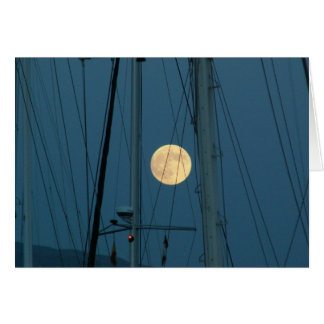 Full Moon Over A Marina Card